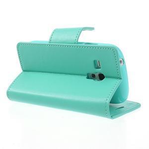 Diary PU kožené puzdro pre Samsung Galaxy S3 mini - azúrové - 4