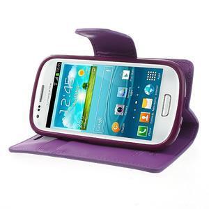 Diary PU kožené pouzdro na Samsung Galaxy S3 mini - fialové - 4