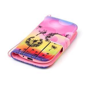 Knížkové PU kožené pouzdro na Samsung Galaxy S3 mini - pampelišky - 4
