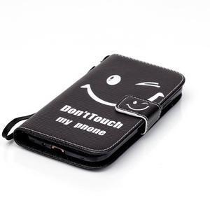Knížkové koženkové puzdro pre Samsung Galaxy S4 - nedotýkať sa - 4