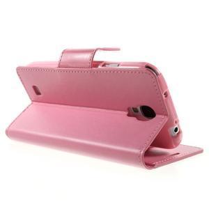 Diary PU kožené puzdro pre mobil Samsung Galaxy S4 - ružové - 4