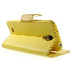 Diary PU kožené puzdro pre mobil Samsung Galaxy S4 - žlté - 4