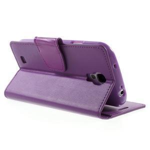 Diary PU kožené puzdro pre mobil Samsung Galaxy S4 - fialové - 4