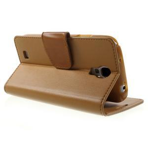 Diary PU kožené puzdro pre mobil Samsung Galaxy S4 - hnedé - 4