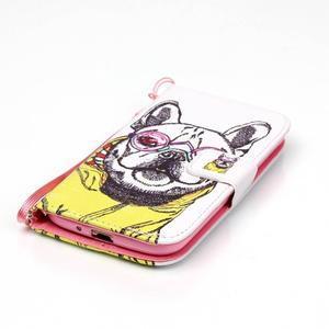 Knížkové koženkové puzdro pre Samsung Galaxy S4 - buldog - 4
