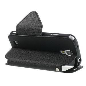 Okýnkové peňaženkové puzdro pre mobil Samsung Galaxy S4 - čierne - 4