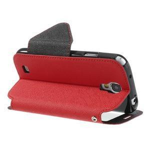 Okýnkové peňaženkové puzdro pre mobil Samsung Galaxy S4 - červené - 4