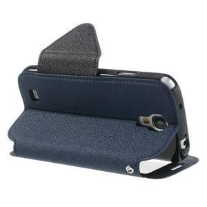 Okýnkové peňaženkové puzdro pre mobil Samsung Galaxy S4 - tmavomodré - 4