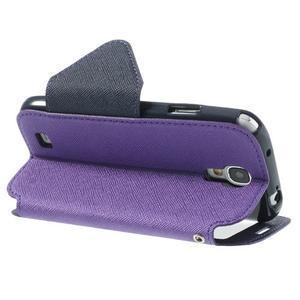 Okýnkové peňaženkové puzdro pre mobil Samsung Galaxy S4 - fialové - 4