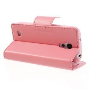 Sonata PU kožené puzdro pre mobil Samsung Galaxy S4 mini - ružové - 4