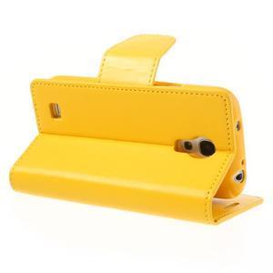 Sonata PU kožené pouzdro na mobil Samsung Galaxy S4 mini - žluté - 4