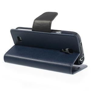 Sonata PU kožené puzdro pre mobil Samsung Galaxy S4 mini - tmavomodré - 4