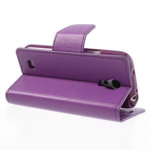 Sonata PU kožené pouzdro na mobil Samsung Galaxy S4 mini - fialové - 4