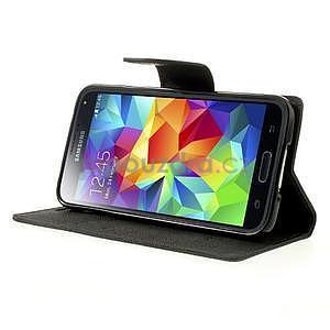 Diary peňaženkové puzdro pre Samsung Galaxy S5 - čierne - 4