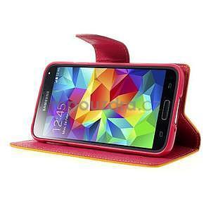 Diary peňaženkové puzdro pre Samsung Galaxy S5 - žlté - 4