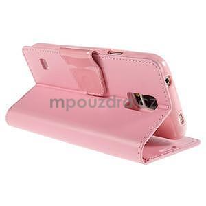 Elegantní peněženkové pouzdro na Samsung Galaxy S5 - růžové - 4