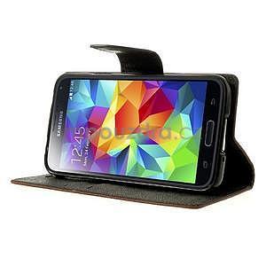 Diary peňaženkové puzdro pre Samsung Galaxy S5 - hnedé - 4