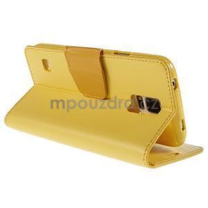 Elegantní peňaženkové puzdro pre Samsung Galaxy S5 - žlté - 4