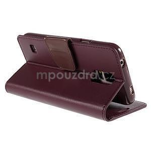 Elegantní peňaženkové puzdro pre Samsung Galaxy S5 - vínové - 4