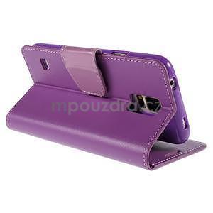 Elegantní peňaženkové puzdro pre Samsung Galaxy S5 - fialové - 4
