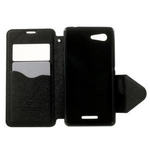 Peňaženkové puzdro s okienkom na Sony Xperia E3 - tmavomodré - 4
