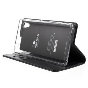 Moons PU kožené klopové puzdro pre Sony Xperia M4 Aqua - čierne - 4