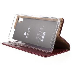 Moons PU kožené klopové puzdro pre Sony Xperia M4 Aqua - vínovej - 4
