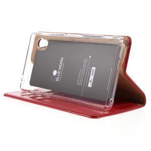 Moons PU kožené klopové pouzdro na Sony Xperia M4 Aqua - červené - 4