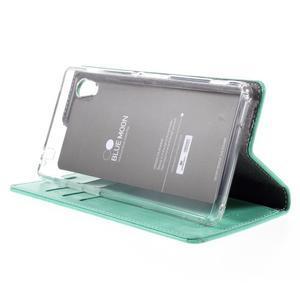 Moons PU kožené klopové puzdro pre Sony Xperia M4 Aqua - azurové - 4