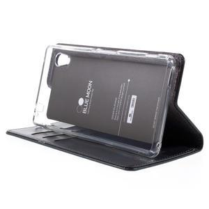 Moons PU kožené klopové pouzdro na Sony Xperia M4 Aqua - tmavěmodré - 4