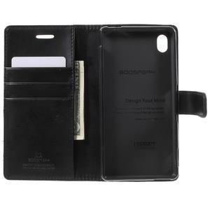 Moon PU kožené puzdro pre mobil Sony Xperia M4 Aqua - čierne - 4