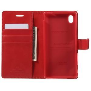 Moon PU kožené puzdro pre mobil Sony Xperia M4 Aqua - červené - 4