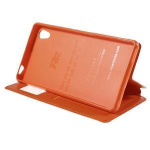 Okýnkové PU kožené pouzdro na Sony Xperia M4 Aqua - oranžové - 4