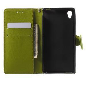 Leaf PU kožené puzdro pre mobil Sony Xperia M4 Aqua - hnedé - 4