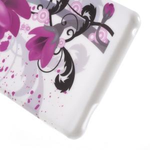 Emotive gélový obal pre Sony Xperia M4 Aqua - fialový kvet - 4