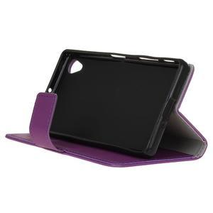 Grain koženkové pouzdro na Sony Xperia X - fialové - 4