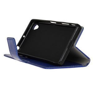 Horse PU kožené puzdro pre Sony Xperia X - modré - 4