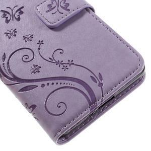 Butterfly PU kožené puzdro pre Sony Xperia X - fialové - 4