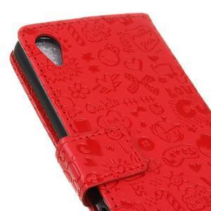 Cartoo Peňaženkové puzdro pre Sony Xperia X - červené - 4