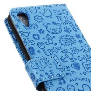 Cartoo Peňaženkové puzdro pre Sony Xperia X - modré - 4