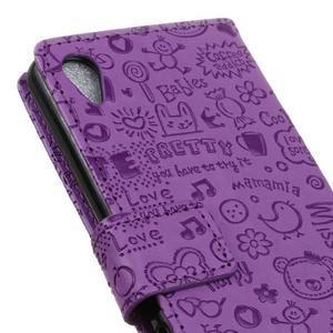 Cartoo peněženkové pouzdro na Sony Xperia X - fialové - 4