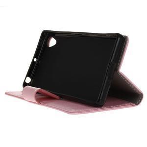 Grain koženkové puzdro pre Sony Xperia X - ružové - 4