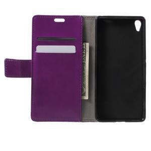 Horse PU kožené pouzdro na mobil Sony Xperia XA - fialové - 4