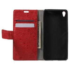 Cartoo Peňaženkové puzdro pre mobil Sony Xperia XA - červené - 4