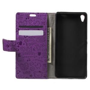 Cartoo Peňaženkové puzdro pre mobil Sony Xperia XA - fialové - 4