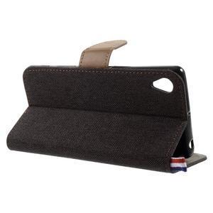 Denim textilné/koženkové puzdro pre Sony Xperia XA - čierne - 4