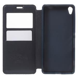 Royal PU kožené puzdro s okienkom na Sony Xperia XA - tmavomodré - 4