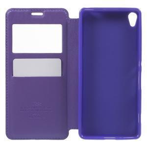 Royal PU kožené puzdro s okienkom na Sony Xperia XA - fialové - 4