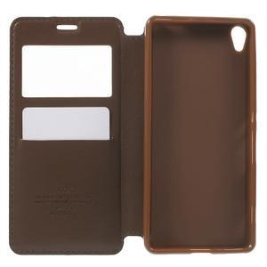 Royal PU kožené pouzdro s okýnkem na Sony Xperia XA - hnědé - 4