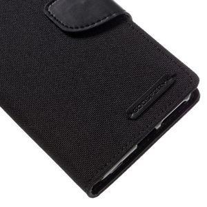 Canvas PU kožené/textilné puzdro pre mobil Sony Xperia XA - čierne - 4